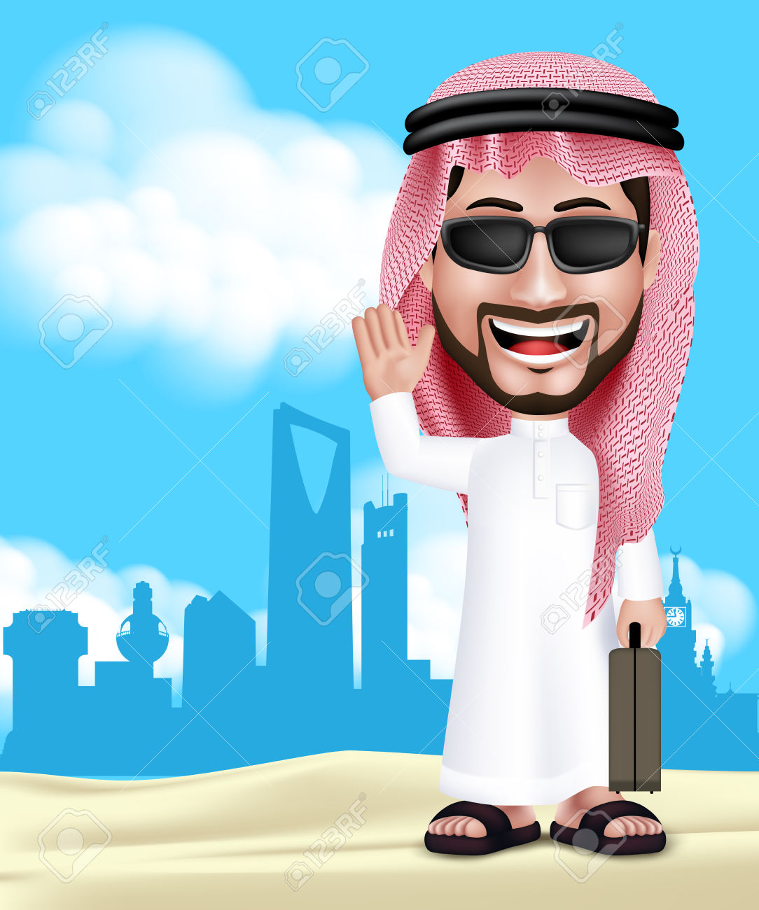 40547847-Realistic-3D-Handsome-Saudi-Arab-Man-Wearing-Thobe-and-Sunglasses-Standing-Happy-With-Traveling-Bag--Stock-Vector