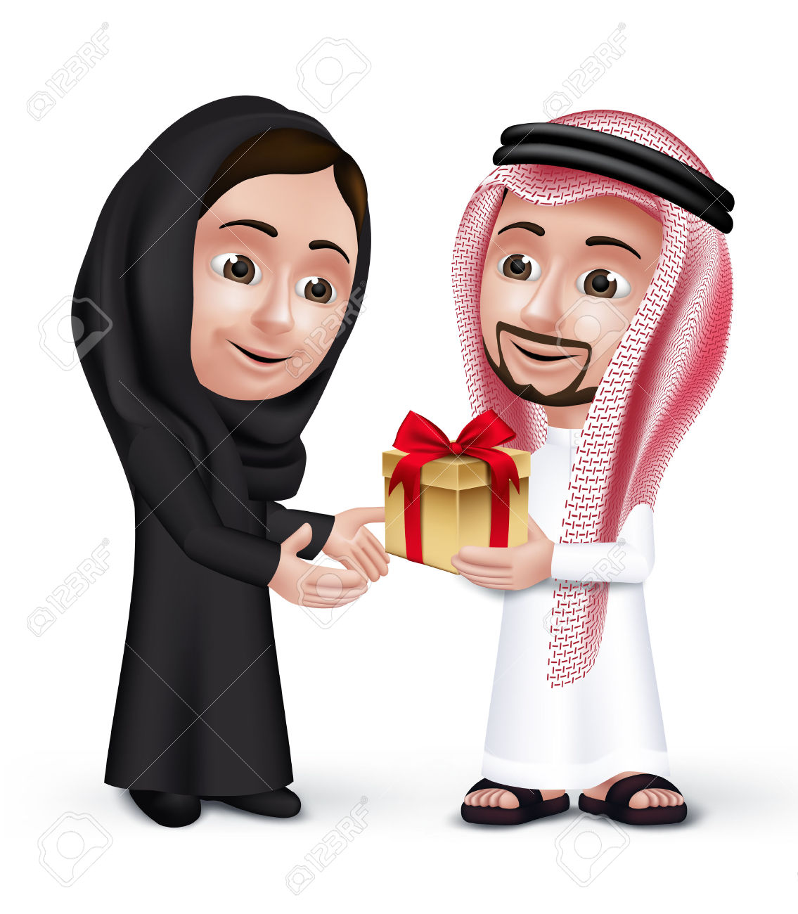 41070920-Realistic-Saudi-Arab-Man-Wearing-Thobe-Giving-Golden-Gift-with-Red-Ribbon-in-a-Beautiful-Woman-Weari-Stock-Vector-1-2